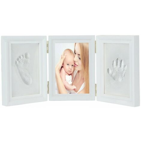 SOEKAVIA Ensemble de cadre photo d'empreinte de main de bébé blanc, test de jouet EN71 Passe-test non toxique pour enfant, cadeau (blanc)