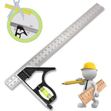 SOEKAVIA Équerre Combinée Combination Square Règle d'angle de Combinaison Réglable Carré d'angle Inoxydable avec Niveau Bulle - Outil de Mesure Professionnel, pour Ingénieur Carpenter