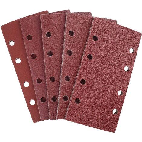 SOEKAVIA Feuilles Abrasives 25 Pièces pour Ponceuse Orbitales 93 x 185 mm, 8 Trous, Papier Abrasif Rectangulaire de Grain 40/60/80/120/240 en Oxyde d'Aluminium, Idéale pour Poncer/Polir