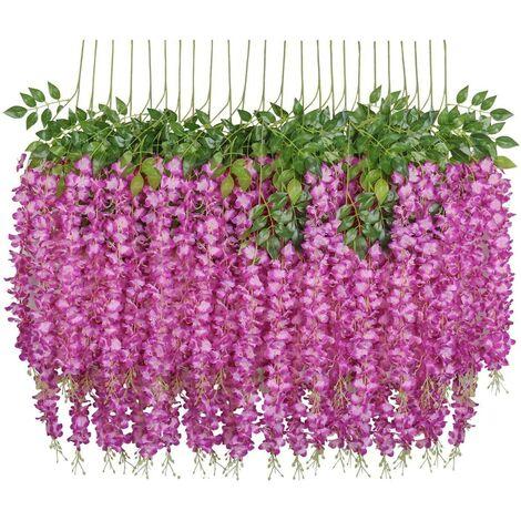 SOEKAVIA Fleurs artificielles, 24 pièces artificielles faux glycine vigne suspendus fleurs en soie décor de fête de mariage à la maison (24 pièces, 110 cm / chaque brin, fuchsia)