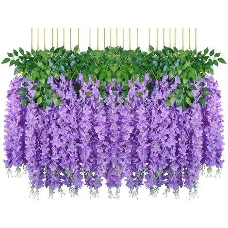 SOEKAVIA Fleurs artificielles, 24 pièces artificielles faux glycine vigne suspendus fleurs en soie décor de fête de mariage à la maison (24 pièces, 110 cm / chaque brin, violet)