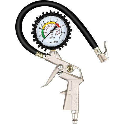 SOEKAVIA Gonfleur de pneu avec manomètre 220 PSI, manomètre de pression de pneu, manomètre pneumatique, voiture et moto haute performance et vélos avec valve Presta et Schrader