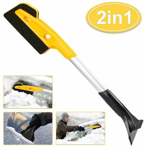SOEKAVIA Grattoir à glace professionnel, brosse à neige grattoir à glace pour voiture, brosse à grattoir 2 en 1 adaptée aux vitres de voiture