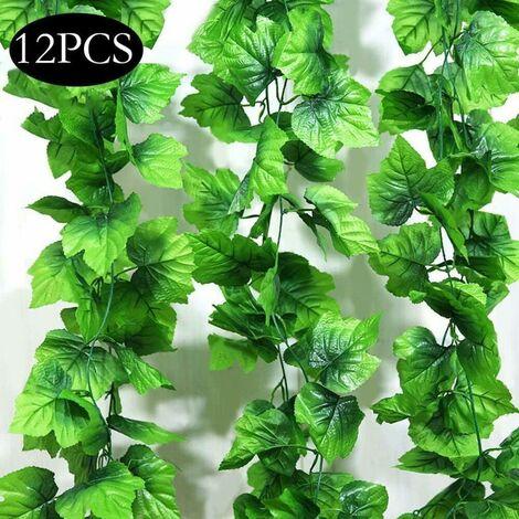 SOEKAVIA Guirlande de feuilles plantes artificielles, 12 paquets pour plantes suspendues fausses vignes soie lierre feuilles verdure guirlande