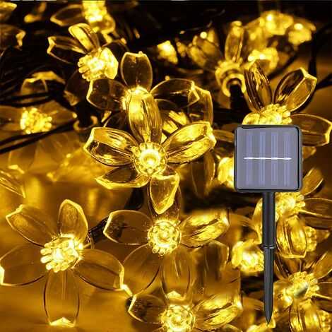 SOEKAVIA Guirlande Lumineuse Solaire Extérieur, 50 LEDs 7 Mètres Guirlande lumineuse Solaire D'extérieur pour Extérieur, Maison, Pelouse, Mariage, Terrasse, Fête et Décoration de Vacances (Blanc Chaud)