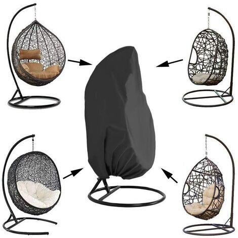 SOEKAVIA Housse de Fauteuil Suspendu Jardin Rotin Osier Fauteuil Suspendu Imperméable Housse Housse de Protection pour œufs Chaise résistant à l'eau et à la poussière - 190 X115cm, Noir