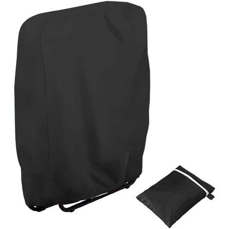 SOEKAVIA Housse de protection pour chaises de jardin résistante aux UV Résistant au vent pour meubles de jardin Deckchair Chaise longue pliable avec sac de transport Oxford Noir