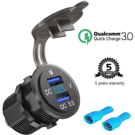 SOEKAVIA Installation de la prise USB 12V / 24V Quick Charge 3.0, double prise de voiture USB QC 3.0, chargeur de voiture, adaptateur allume-cigare étanche 36W avec voltmètre LED, affichage de la tension de la batterie pour bateau, moto, camion