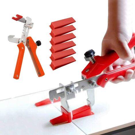 SOEKAVIA Kit de Système de Nivellement Leveller de Carrelage pour Outils de Construction de Murs en Céramique (200 Cales + 1 Pince(Couleur aléatoire))