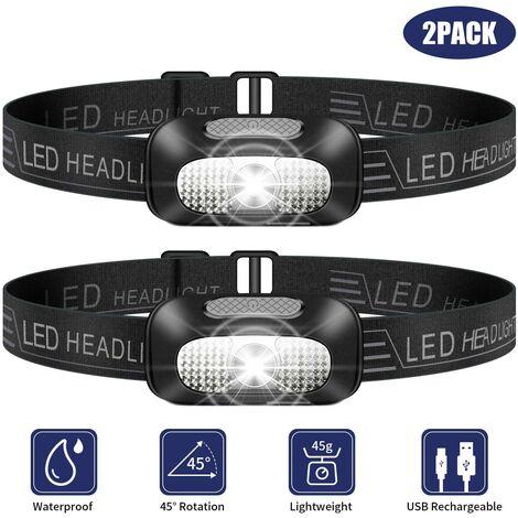 SOEKAVIA Lampe frontale LED, lampe frontale légère 2 pièces, lampe frontale étanche rechargeable USB super brillante pour le camping, la pêche, la course, le jogging, la randonnée, la lecture, le travail