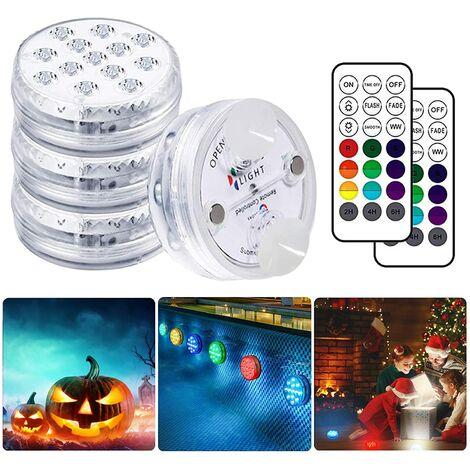 SOEKAVIA Lampe Piscine LED Lumières LED Submersibles, Temps d'éclairage 30-50 heures IP68 Étanche 16 RGB Couleurs Changement Lampes Décoratives pour Aquariums Baignoire,Vase,Piscines,Étangs (4 Pcs) [Classe énergétique A+]