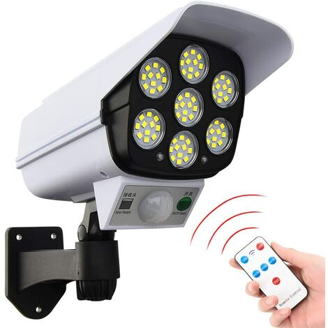 SOEKAVIA Lampe solaire 77 LED pour extérieur, simulation de surveillance, éclairage de sécurité avec détecteur de mouvement, lampe murale solaire, fausses caméras de surveillance