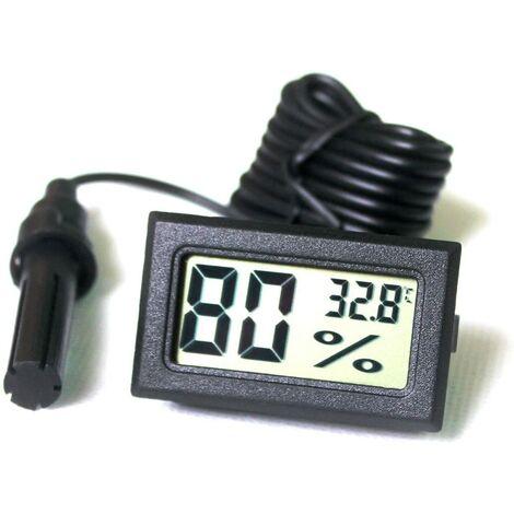 SOEKAVIA LCD Tuner Numérique Intégré Thermomètre Hygromètre avec Sonde Externe pour Couveuse Aquarium Volaille Reptile Noir