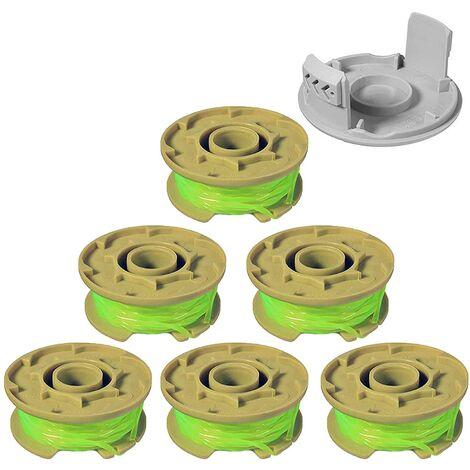 SOEKAVIA Ligne de bobine de rechange pour coupe-bordures compatible pour Ryobi One Plus + AC80RL3,11ft Bobines de rechange à alimentation automatique pour Weed Eater de 0,08 pouce pour coupe-bordures sans fil Ryobi 18v, 24v, 40v (6 bobines, 1 capuchon)