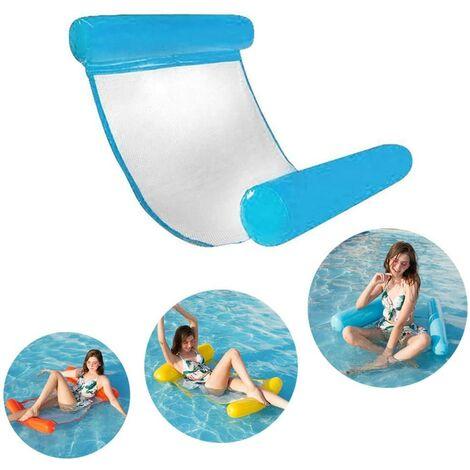SOEKAVIA Lit de natation gonflable, hamac d'eau ultra confortable avec filet, section de tête et de pied gonflable hamac de piscine matelas d'air d'eau chaise longue flottante (bleu)