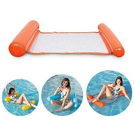 SOEKAVIA Lit de natation gonflable, hamac d'eau ultra confortable avec filet, section de tête et de pied gonflable hamac de piscine matelas d'air d'eau chaise longue flottante (orange)