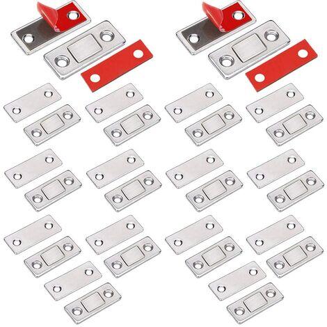 SOEKAVIA Loquet Magnetique Aimant porte Placard 14 Pièces Très Mince loquets magnétiques à Coller Aimant Fermeture Adhesif Meuble Aimant Puissant pour Porte Coulissante Tiroirs Fenetre Aimanté Armoire