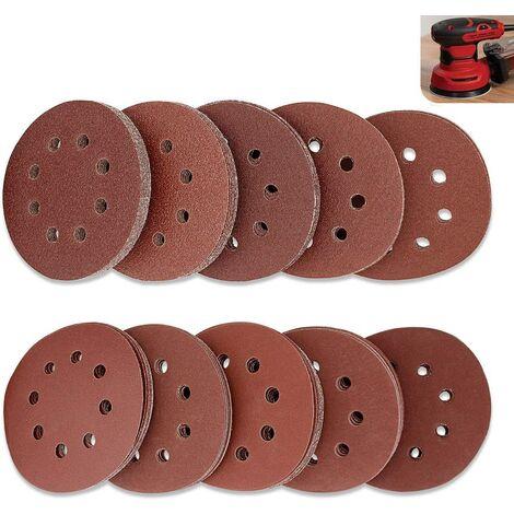 SOEKAVIA Lot de 100 Disque de Ponçage Papier Abrasif 125 mm, Papier de Verre à Fixation en Nylonpour Ponceuse Excentrique Disques Abrasifs de 40/60/80/100/120/180/240/320/400/800 (10 par taille)