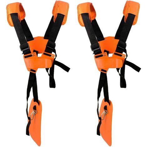 SOEKAVIA Lot de 2 sangles d'épaule réglables pour tondeuse à gazon avec ceinture en nylon durable pour jardinage ou débroussailleuse pour débroussailleuse KM, STIHL FS (Orange)