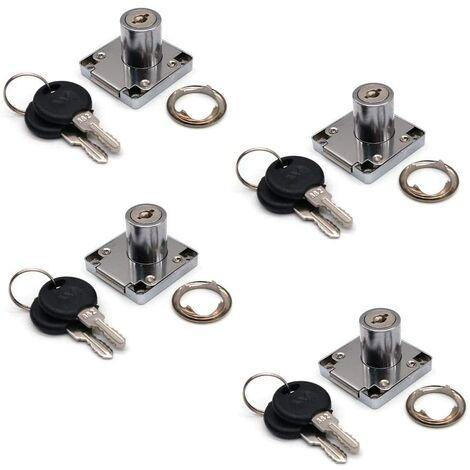 SOEKAVIA Lot de 4 serrures de placard et tiroir avec 2 clés, cylindre de serrure de meuble, serrure à came en alliage de zinc pour porte, armoire, tiroir, boîte aux lettres (22 mm)