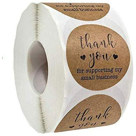 SOEKAVIA Lot de 500 autocollants ronds pour pâtisseries - Avec inscription « Kraft Thank You for Supporting My Small Business » - 2,5 cm