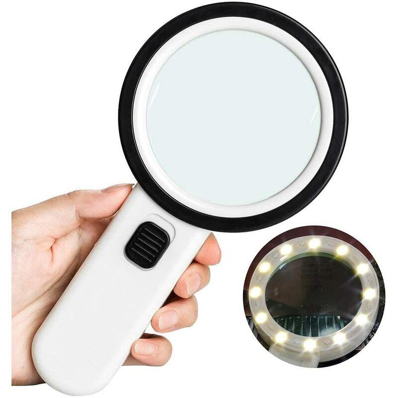 SOEKAVIA Loupe de lecture 10 × avec 12 LED, taille 106 mm, loupe à main sans distorsion avec double lentille en verre pour livres, journaux, bijoux,