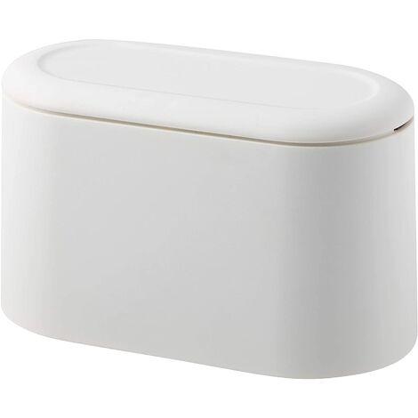 SOEKAVIA Mini comptoir poubelle presse cartouche couvercle poubelle porte-maquillage vanité salle de bain cuisine voiture bureau bureau (blanc clair)