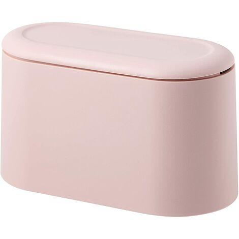 SOEKAVIA Mini comptoir poubelle presse cartouche couvercle poubelle porte-maquillage vanité salle de bain cuisine voiture bureau bureau (rose clair)
