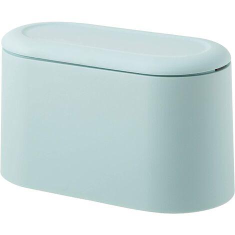 SOEKAVIA Mini comptoir poubelle presse cartouche couverture poubelle porte-maquillage vanité salle de bain cuisine voiture bureau bureau (bleu clair)