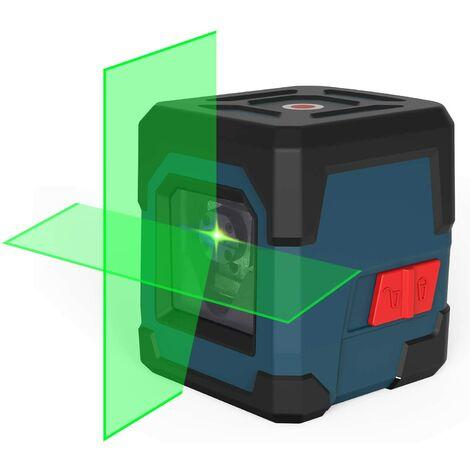 SOEKAVIA Niveau Laser Autonivelant,LV1G Niveau Laser Rotatif IP54 Anti-éclaboussures 15M Laser Croix Horizontal et Verticale avec étui de Protection et 2 Piles