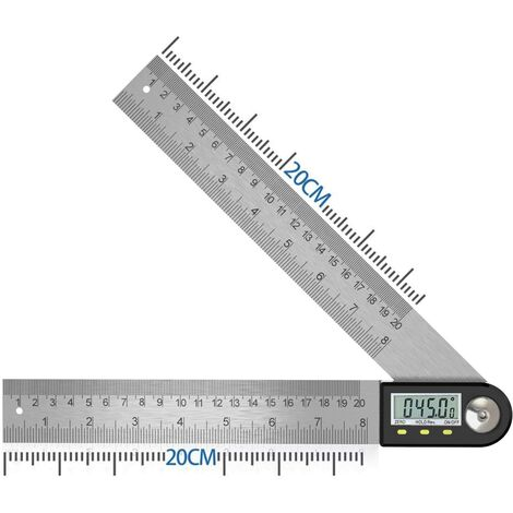 SOEKAVIA Numérique Angle Finder 0-360 ° Numérique Inclinomètre En Acier Inoxydable Rapporteur D'angle Règle avec LCD Affichage pour Travail Du Bois Construction Réparation