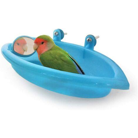 SOEKAVIA Oiseaux Baignoire pour Animaux de Bain Fournitures Douche Portable Petits Animaux en Plastique Bassin Parrot,Baignoire Bird Baignoire Bird Parrot Cabine de Douche Accessoires (Bleu)