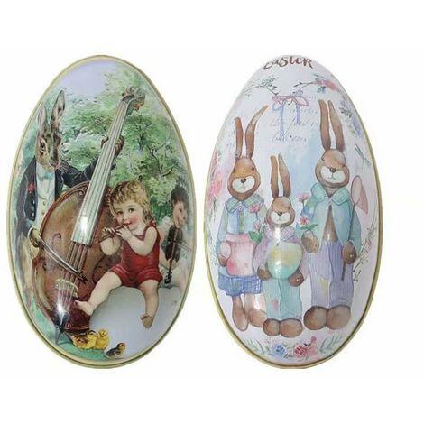 SOEKAVIA Pâques Decoration, Oeufs de Pâques Décorés Petits Boîte de Bonbons de Pâques pour et Les Cadeaux Bebe Livre Enfant Surprise Mini Jouets Idéal de Pâques (2PCS)