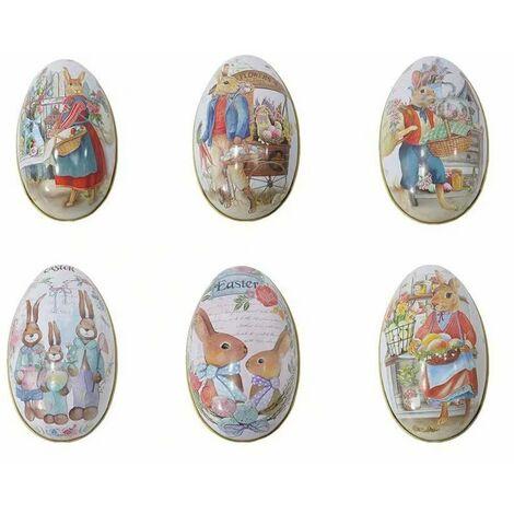 SOEKAVIA Pâques Decoration, Oeufs de Pâques Décorés Petits Boîte de Bonbons de Pâques pour et Les Cadeaux Bebe Livre Enfant Surprise Mini Jouets Idéal de Pâques (6PCS)
