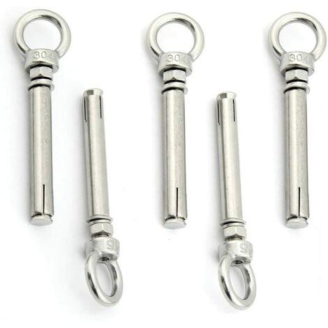 SOEKAVIA Paquet de 5 vis à boulon à œil à expansion avec anneau de levage en acier inoxydable