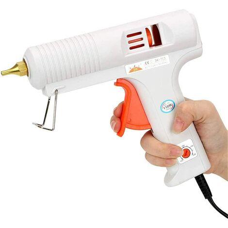 SOEKAVIA Pistolet à colle chaude professionnel de 110 W avec pistolet à colle chaude à buse réglable en température et anti-goutte pour l'artisanat Bricolage Arts, réparation à domicile