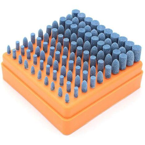 SOEKAVIA Polir la Tête de Meulage, 100 Pcs Accessoires de Polissage Multifonctions pour Dremel Accessoires, Diamètre de La Tige de 3mm (Bleu)
