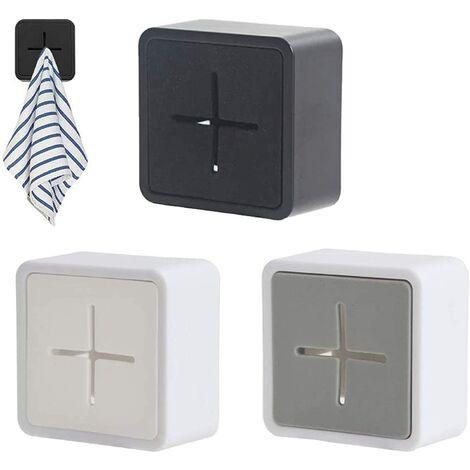 SOEKAVIA Porte Torchon, Crochets de serviette auto-adhésifs en silicone de qualité supérieure Porte-serviettes de montage mural carré anti-collision pour salle de bain Cuisine Ensemble de 3 (blanc, gris, noir)