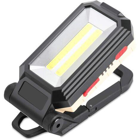 SOEKAVIA Projecteur de chantier LED rechargeable avec base magnétique et crochet de suspension, 4 modes de luminosité, lampe d'inspection réglable à 180 ° pour réparation de camping et de secours