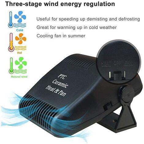 SOEKAVIA Radiateur soufflant de dégivreur de vitre de voiture, dégivreur de dégivreur de radiateur de véhicule de voiture hiver avec support rotatif à 180 degrés, protection automatique contre la surchauffe, radiateur soufflant de dégivreur de vitre de vo