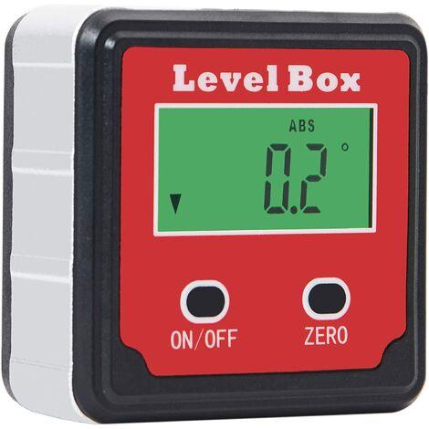 SOEKAVIA Rapporteur d'angle numérique magnétique Bevel Box Inclinomètre LCD étanche avec aimants intégrés Rouge
