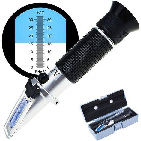 SOEKAVIA Réfractomètre de teneur en sucre, réfractomètre 0-32 Brix réfractomètre à vin pour mesurer la teneur en sucre avec réfractomètre à main ATC pour les vignerons vin bière fruits fruits etc.
