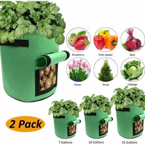 SOEKAVIA Sac de jardinière, paquet de 2, avec rabat d'accès et poignées, pour pommes de terre, pots à plantes, sacs à plantes, jardinières, jardinières, jardinières, jardinières, vert (taille: 7 gallons)
