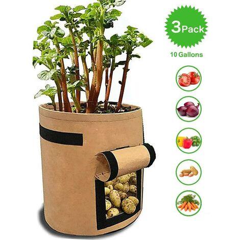 SOEKAVIA Sacs de jardinière pour pommes de terre, tomates et autres légumes, tissu polaire respirant, jardinière avec rabat, fermeture velcro et poignée, 3 pièces, jardin, kaki