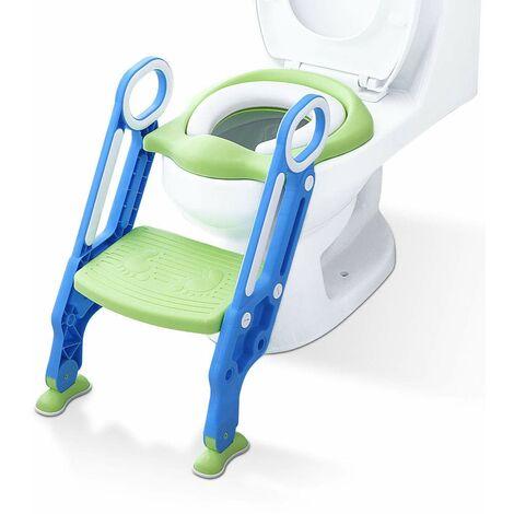 SOEKAVIA Siège d'entra?nement pour siège de toilette pour enfants Potty Trainer pour enfants Formation à la propreté avec échelle pour enfants de 1 à 7 ans Vert menthe