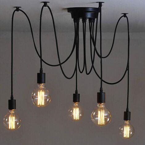 SOEKAVIA Suspendu Edison 2 Mètres Réglable Plafonnier Araignée Lumière Métal Fil Cage Pendentif Éclairage Lustre Moderne Industriel Lumière Lumineuse (Ampoule NON INCLUS) (5 Bras)