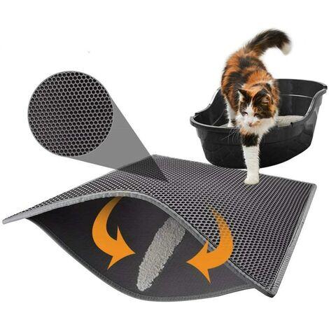 SOEKAVIA Tapis de litière pour chat avec double couche étanche Motif nid d'abeille Noir