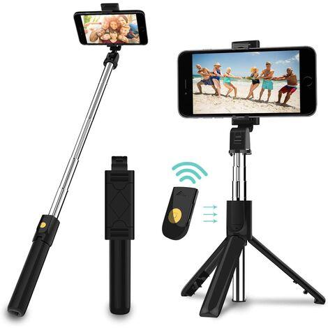 SOEKAVIA Trépied Selfie Stick, Mini Selfie Stick 3 en 1 avec téléphone portable à libération à distance Bluetooth Stick selfie extensible et support de téléphone portable monopode portable pour iPhone / Samsung / Huawei IOS et Android