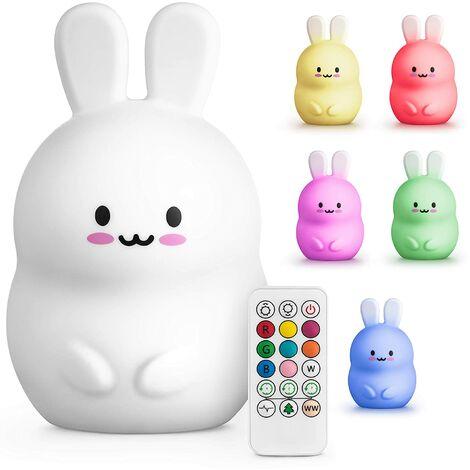 SOEKAVIA Veilleuse LED - lumière fixe - lampe tactile pour enfants, bébés (gros lapin avec télécommande)