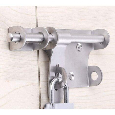 SOEKAVIA Verrou de porte à boulon coulissant, verrou en acier inoxydable Verrou de verrouillage de la porte, boulon avec trou pour cadenas, fermoir de sécurité à attache de la tête